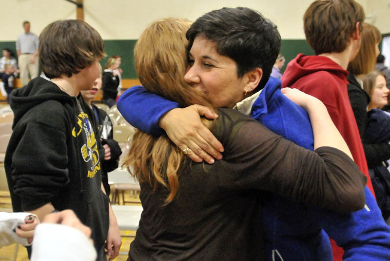 Marisa Weinstein, music teacher at Warsaw Middle School in Pittsfield, was presented the Maine Music Educators Association Educator of the Year award during a surprise assembly at the school on Tuesday.