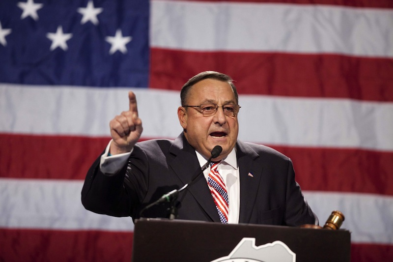 In this May 2012 file photo, Gov. Paul LePage speaks at the Maine Republican Convention. The lawyer seeking an investigation into claims that Gov. Paul LePage pressured unemployment hearing officers to side with business owners over workers says the case could be grounds to reopen recent appeals decisions. (AP Photo/Robert F. Bukaty)