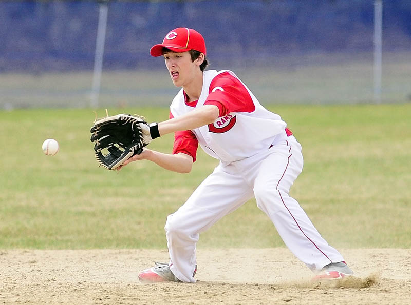 MAKE THE PLAY: Cony shortstop shortstop Thomas Foster fields a ball hit during the Rams' 9-1 win against Erskine Acadmey on Friday at Erskine Academy's Caswell Field in South China.