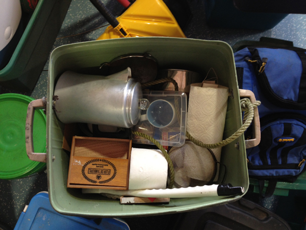 A coffee pot and other items from North Pond hermit Christopher Knight's camp is shown Thursday at Pine Tree Camp in Rome.