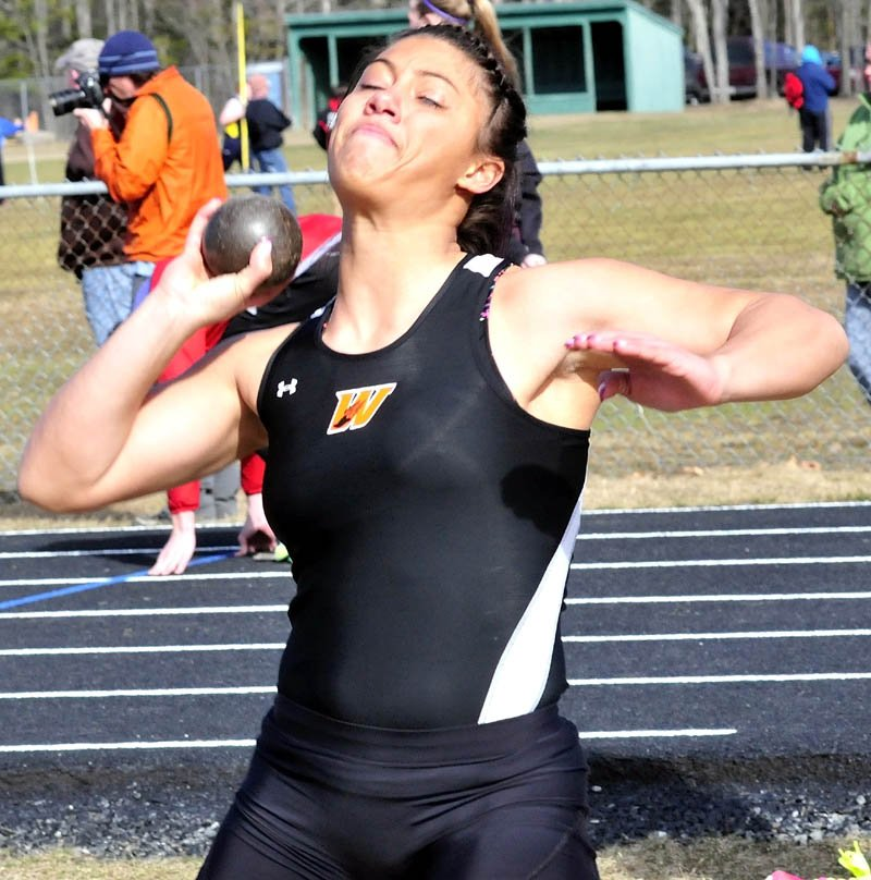 GOOD TO BE HOME: Winslow's Alliyah Veilleux competes in shotput during a track and field meet Thursday at Winsow High School. The meet was the first home meet at Winslow since 2010.