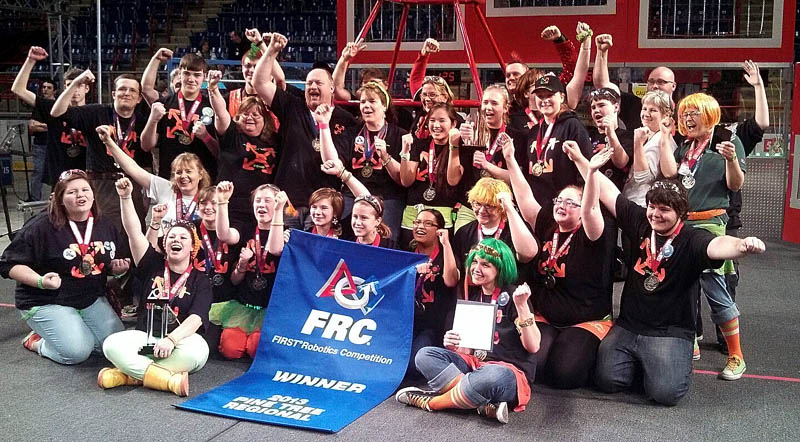 Messalonskee High School's robotics club celebrates it first-place finish at the Pine Tree FIRST Robotics Competition Saturday in Lewiston.