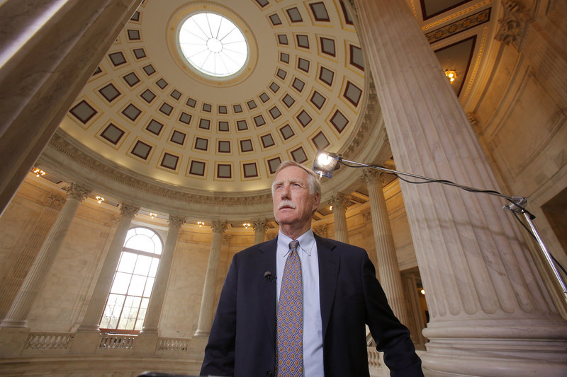 In the rotunda of the Russell Senate Office Building, Maine Sen. Angus King waits to begin a remote interview with TV news host Chris Matthews of MSNBC after a vote in the chamber Thursday.