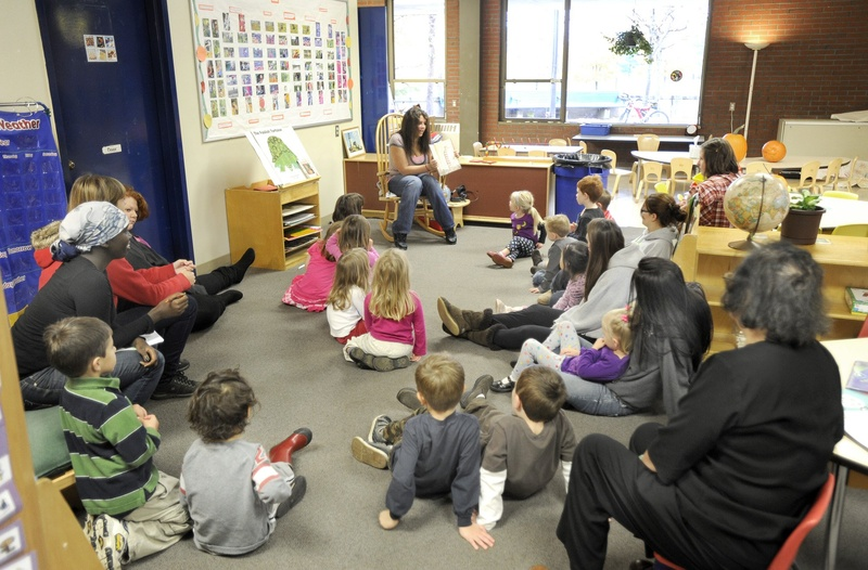 Preschoolers listen to a story at Portland Arts and Technology High School in 2010.
