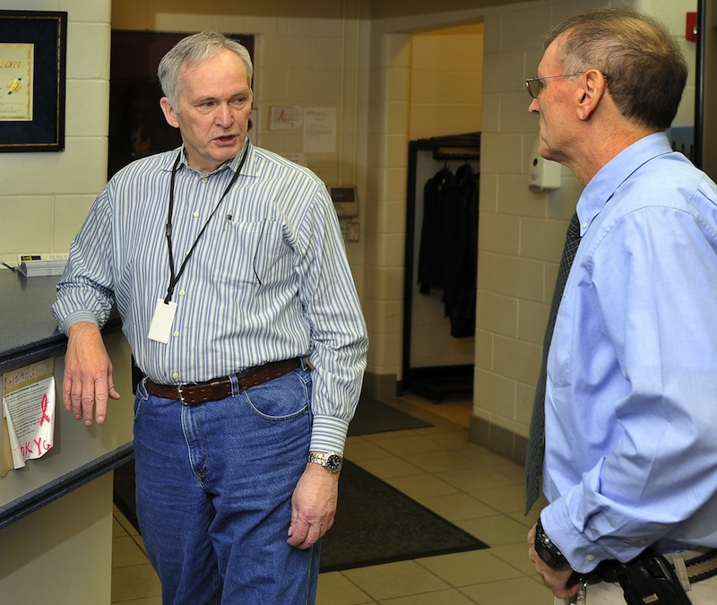 In this March 2011 file photo, Joseph Ponte speaks with Rodney Bouffard, then-Superintendent of the Long Creek Youth Development Center in South Portland at the facility. Ponte has named Bouffard warden of the Maine State Prison.