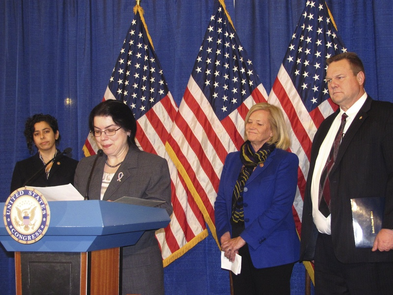 Milbridge resident Ruth Moore pauses at a news conference earlier this year while discussing a bill bearing her name that aims to relax the rules for military sexual assault survivors seeking disability benefits from the Department of Veterans Affairs. With her are the bill's two primary sponsors – Rep. Chellie Pingree of Maine and Sen. Jon Tester of Montana – as well as Anu Bhagwati of the Service Women's Action Network.