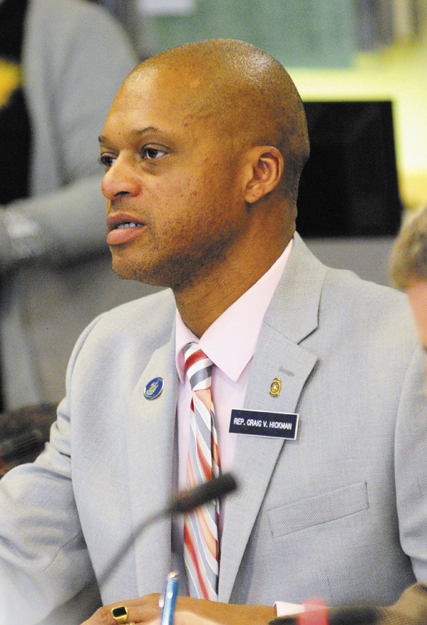Committee member Rep. Craig Hickman (D-Winthrop) asks a question during a recent hearing on L.D. 718, An Act to Protect Maine Food Consumers' Right to Know About Genetically Engineered Food and Seed Stock, before the Joint Standing Committee on Agriculture, Conservation and Forestry held in the Cross State Office Building in Augusta.