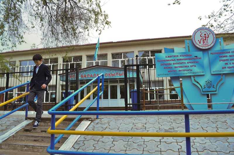 """A view of a school in Almaty, the largest Kazakhstan city on Friday, May 3, 2013. At the Kazakh school where Dias Kadyrbayev who was arrested in connection with the Boston Marathon bombings attended when he was 14 and 15, Deputy principal Yuri Dovgal said Friday: """"He wasn't a star student, but he wasn't a hooligan. He was a normal teenager."""" (AP Photo/Abylay Saralayev)"""