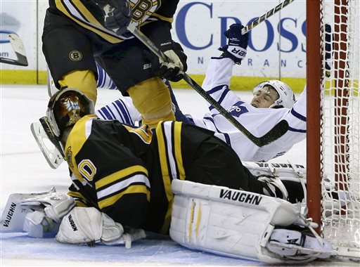 Toronto Maple Leafs left wing James van Riemsdyk, right, falls back as he celebrates his goal against Boston Bruins goalie Tuukka Rask, foreground, during the third period in Game 2 of a first-round NHL hockey playoff series in Boston, Saturday, May 4, 2013. The Maple Leafs won 4-2. (AP Photo/Elise Amendola) TD Garden
