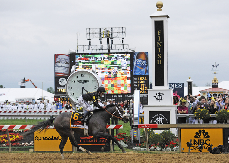 Oxbow, ridden by jockey Gary Stevens, wins the 138th Preakness Stakes horse race at Pimlico Race Course on Saturday in Baltimore. Pimlico Race Course