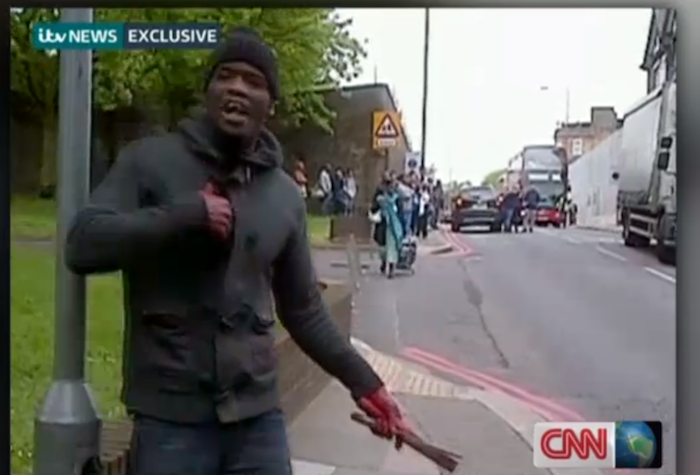 In a shocking video broadcast on CNN and British TV, one man gestured with bloodied hands shortly after the attack, waving a butcher knife and shouting political statements against the British government.