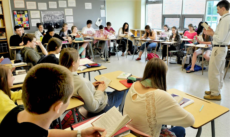 Waterville Senior High School teacher Tom Creeley leads an English class on Wednesday. Waterville and Winslow high schools are among the best in the state, according to a report released by U.S. News & World Report magazine.