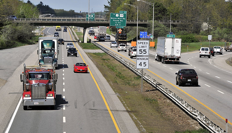 The Maine Turnpike was busy with traffic Thursday near Exit 44 in South Portland. An analysis of turnpike traffic by toll interchange suggests that motorists have taken steps to avoid some of the plazas that have had increases in their fares during the last six months.