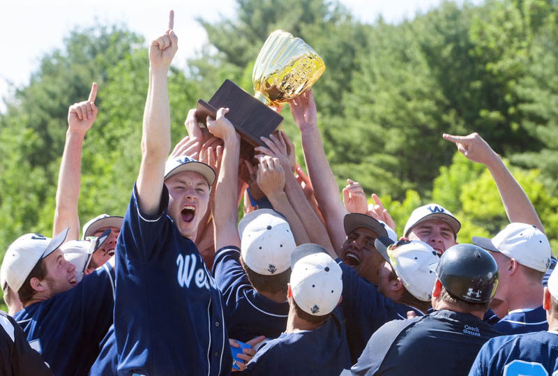 The Westbrook baseball team celebrates after beating Messalonskee 2-0 to win the Class A state championship Saturday at Morton Field in Augusta.