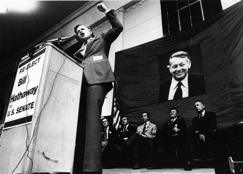 """Sen. Ted Kennedy campaigns on Nov. 4, 1978, for Maine U.S. Sen. Bill Hathaway, whose picture hangs in the background. Former U.S. Senator William """"Bill"""" Hathaway of Maine has died at 89."""