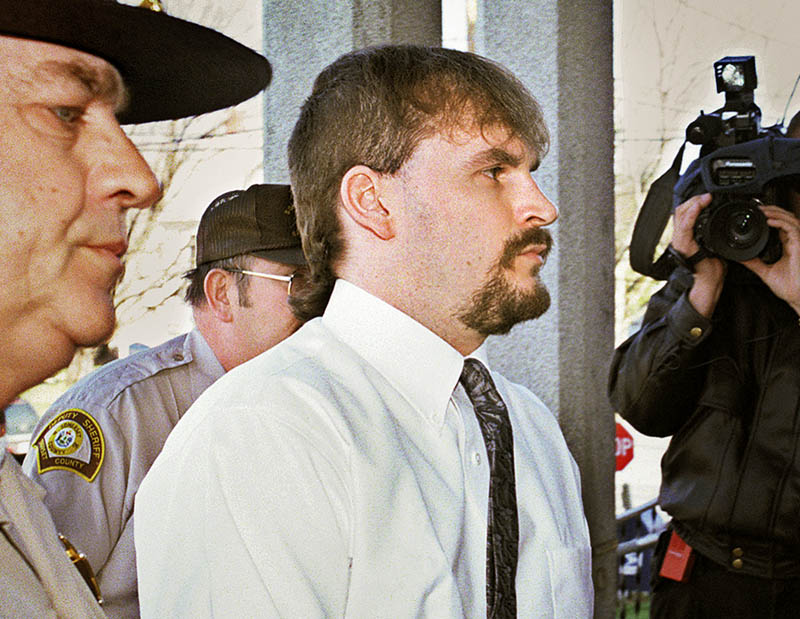 Guy Hunnewell III enters Somerset County Superior Court in Skowhegan in 1999 to be sentenced for the murder of Stephanie Gilliland the year before. somerset court skowhegan sentencing hearing guy hunnewell III stephanie gilliland crime