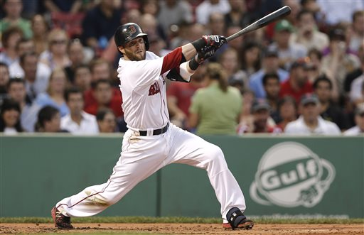 Boston Red Sox's Dustin Pedroia follows through on an RBI double during the second inning of a baseball game against the Colorado Rockies at Fenway Park in Boston Tuesday, June 25, 2013. (AP Photo/Winslow Townson)