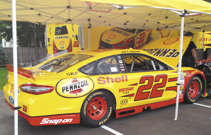 THE REAL DEAL: The No. 22 Shell-Penzoil Ford Fusion driven by NASCAR Sprint Cup driver Joey Logano was in Topsham on Wednesday and is visiting select locations around the state.