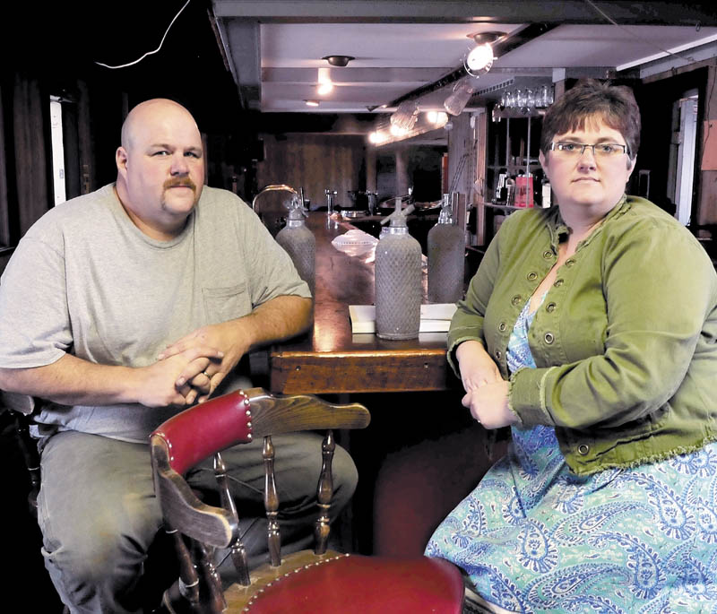 Marc and Janet Wheeler speak about reopening the former Kennebec Valley Inn in Skowhegan on Tuesday. The couple are inside a section that will become the Blue Room Lounge, next to a dance floor.