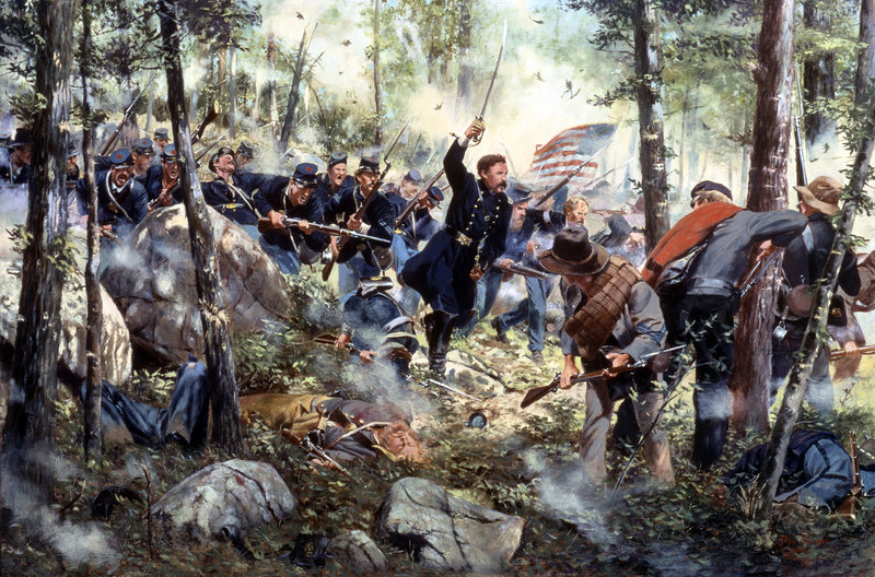 """""""Bayonet - July 2, 1863,"""" a painting by American historical artist Don Troiani, depicts the 20th Maine Regiment at Little Round Top in Gettysburg, Pa. With his men running out of ammunition, Col. Joshua Chamberlain leads a bayonet charge during the three-day battle, generally considered the turning point in the American Civil War. This week marks the battle's 150th anniversary."""