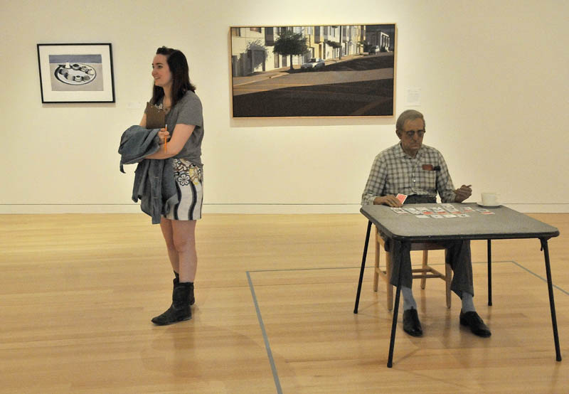 Blair Hudson, 18, a student at the Maine Academy of Natural Sciences, stands next to a Duane Hanson's