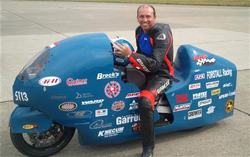 Bill Warner, 44, of Wimauma, Fla., died Sunday at an annual speed trial event in northern Maine. Race director Tim Kelly says Warner was clocked at 285 mph before he lost control.