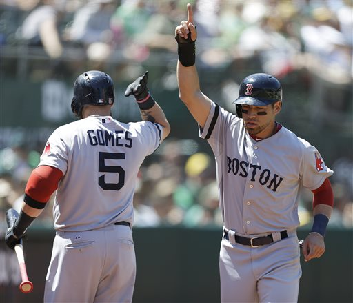 Boston Red Sox's Jonny Gomes, left, congratulates Jacoby Ellsbury after Ellsbury scored against the Oakland Athletics in the sixth inning of a baseball game Sunday in Oakland, Calif. Ellsbury scored on a single by Dustin Pedroia.