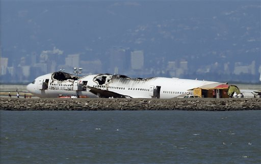 The wreckage of Asiana Airlines Flight 214 sits on the tarmac in San Francisco. Investigators said the Boeing 777 was traveling