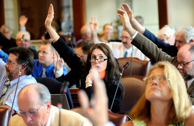 Rep. Deb Sanderson, R-Chelsea, center, raises her arm, along with other legislators, during a vote in the House of Representatives Tuesday.