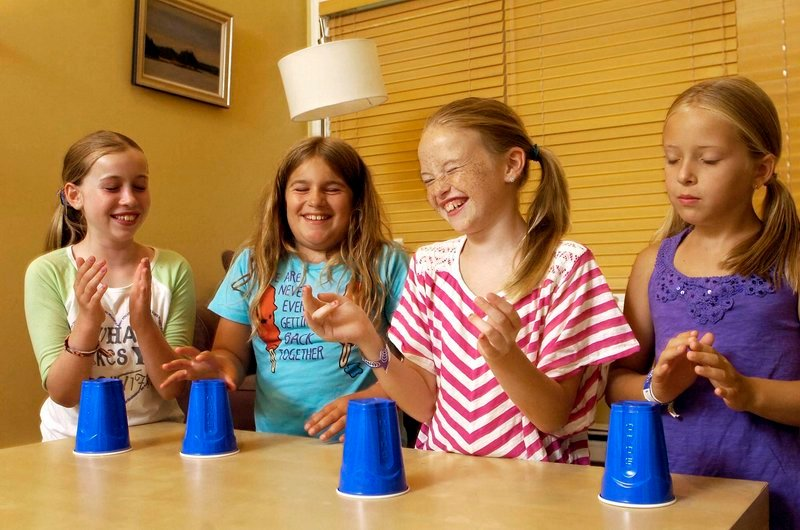 From left to right, Hannah Johnson, Caitlin Guthrie, Katherine Concannon, and Tatum Strunk, all 10 years old and from Cape Elizabeth, share a laugh while practicing the