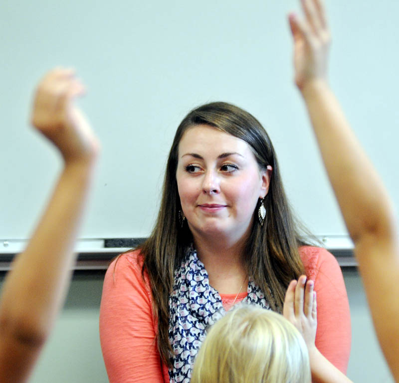 Wayne Elementary School teacher Danielle Nason asks students questions about a lesson Wednesday.