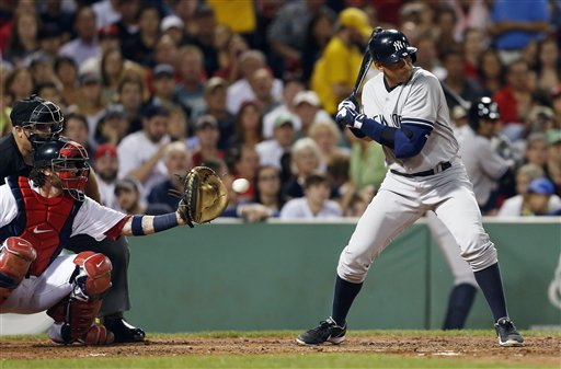 New York Yankees' Alex Rodriguez, right, watches a pitch as Boston Red Sox's Jarrod Saltalamacchia catches in the second inning of a baseball game in Boston, Sunday, Aug. 18, 2013. (AP Photo/Michael Dwyer)