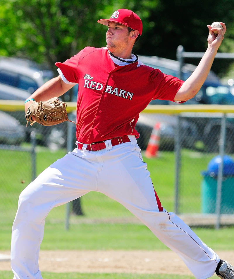 AND THE PITCH: The Red Barn pitcher Jory Humphrey fires a pitch during an American Legion state tournament game on Saturday at Morton Field in Augusta. The Red Barn lost 16-6 to Staples-Crossing of Eliot and were eliminated from the tournament.