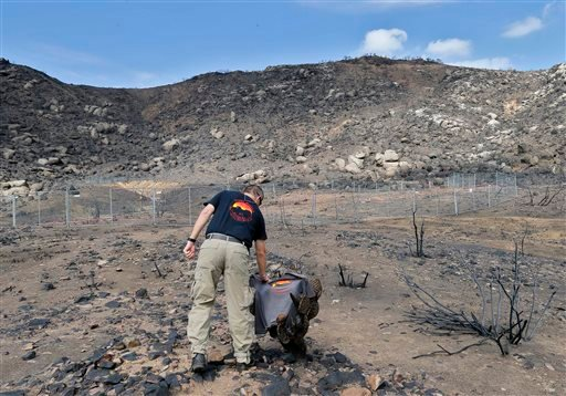 Prescott Wildland Division Chief Darrell Willis touches a Granite Mountain Hot Shots crew shirt draped over a burned cactus, in Yarnell, Ariz., on July 23. A three-month investigation into the June deaths of 19 firefighters killed while battling an Arizona blaze cites poor communication between the men and support staff, and reveals that an airtanker carrying flame retardant was hovering overhead as the men died.