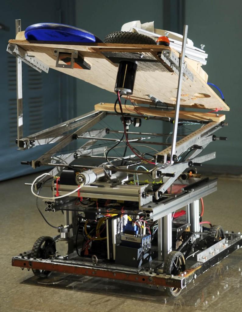 The Gardiner Area High School robotics team's disc-throwing robot. Wednesday September 10, 2013