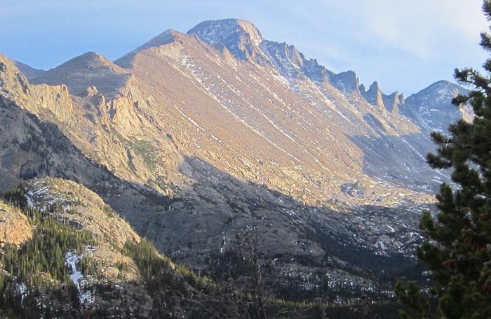 Longs Peak, the tallest mountain in Rocky Mountain National Park.