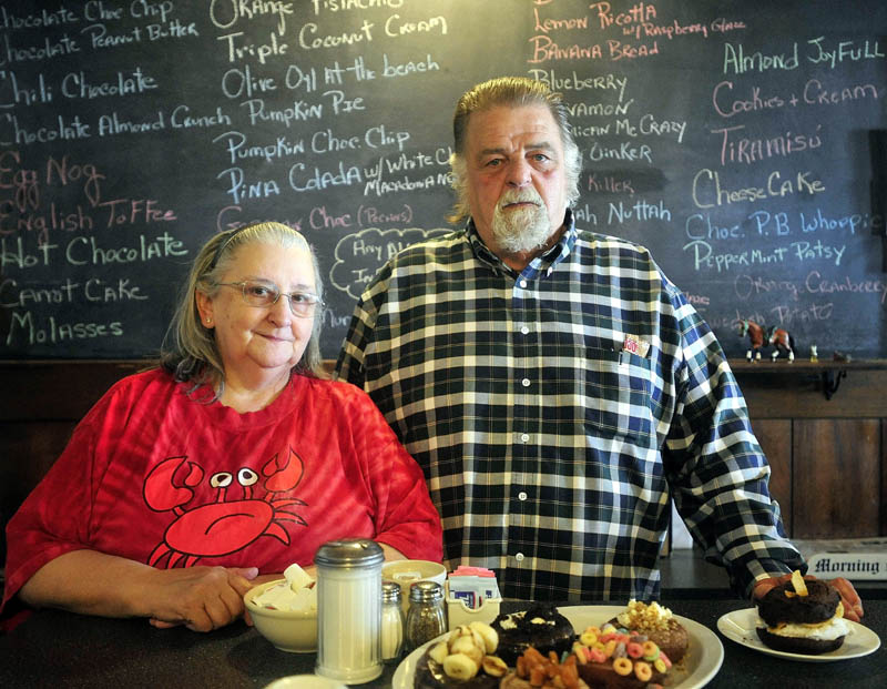 Ann and John Maglaras, owners of the Kennebec Cafe, have 116 different types of doughnuts available at their Main Street location in Fairfield.