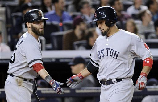 Boston Red Sox's Shane Victorino, right, celebrates with teammate Dustin Pedroia after scoring in the fifth inning of a baseball game against the New York Yankees, Thursday, Sept. 5, 2013, at Yankee Stadium in New York. (AP Photo/Bill Kostroun)