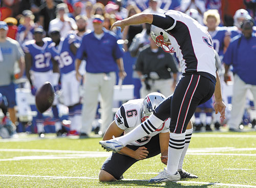 IT'S GOOD: New England's Stephen Gostkowski kicks the game-winning field goal with 5 seconds left in the game against the Buffalo Bills on Sunday in Orchard Park, N.Y.