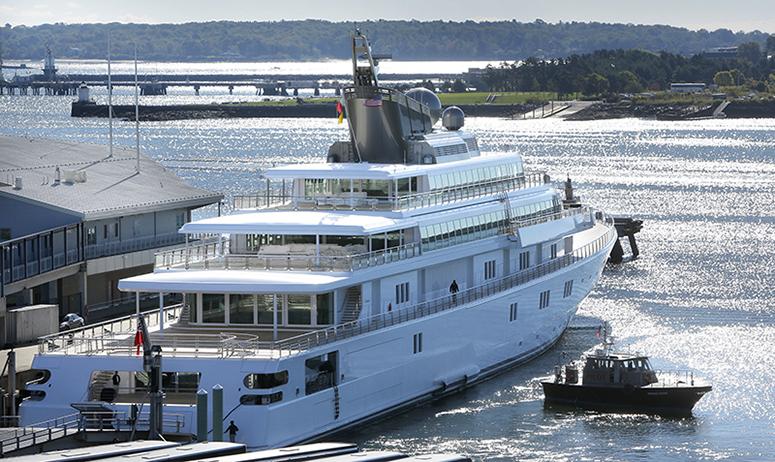 David Geffen's yacht Rising Sun came into Portland on Tuesday morning.