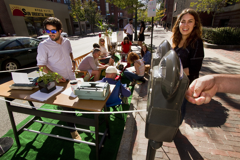 Employees and friends of The Via Agency on Congress Street participate in Portland's second annual Park(ing) Day on Friday, when people took over parking spaces for the day.
