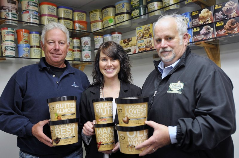 Roger Gifford, Lindsay Gifford-Skilling and John Gifford are seen at Giffords Ice Cream in Skowhegan in this March 2011 file photo.