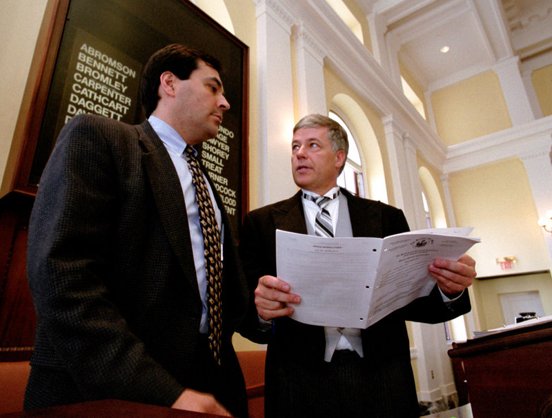 State Sens. Rick Bennett, left, and Mike Michaud work together during the legislative session in 2001-2002, when they shared power by dividing the term of Senate president.