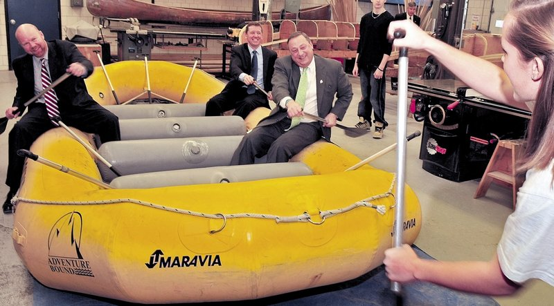 Gov. Paul LePage and then-Education Commissioner Stephen Bowen, shown following instructions on whitewater rafting, were paddling in the same direction on education system reforms but hit a few rough rapids along the way.