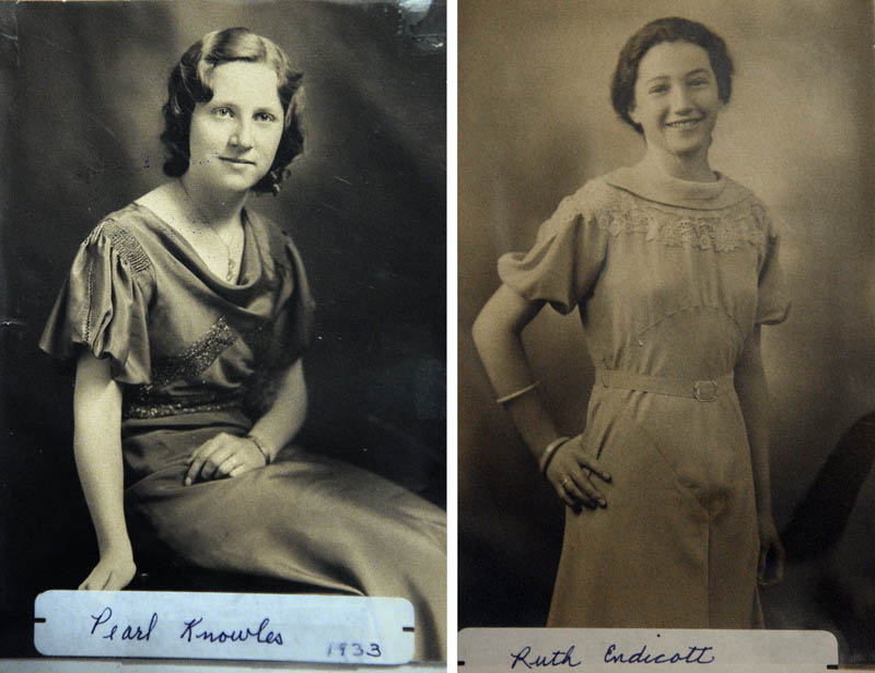 This combined photo shows Pearl Knowles Freeman, left, and Ruth Endicott Freeman in 1933 ,when they graduated from Belgrade High School.