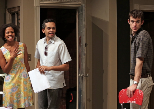 """Lena (Noelle LuSane), Kevin (Bari Robinson) and Tom (Lucas O'Neil) from Good Theater's production of """"Clybourne Park."""""""