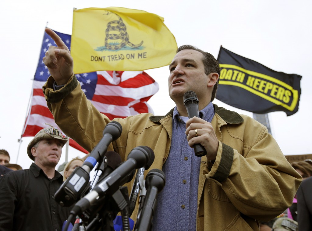 The Associated Press Sen. Ted Cruz, R-Texas, speaks at a rally in front of the WWII Memorial in Washington on Oct. 13, 2013.