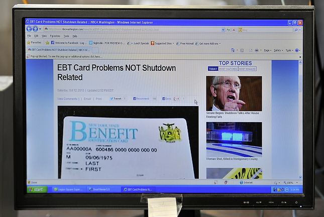 According to the NBC Washington website, the EBT problem is not related to the government shutdown.