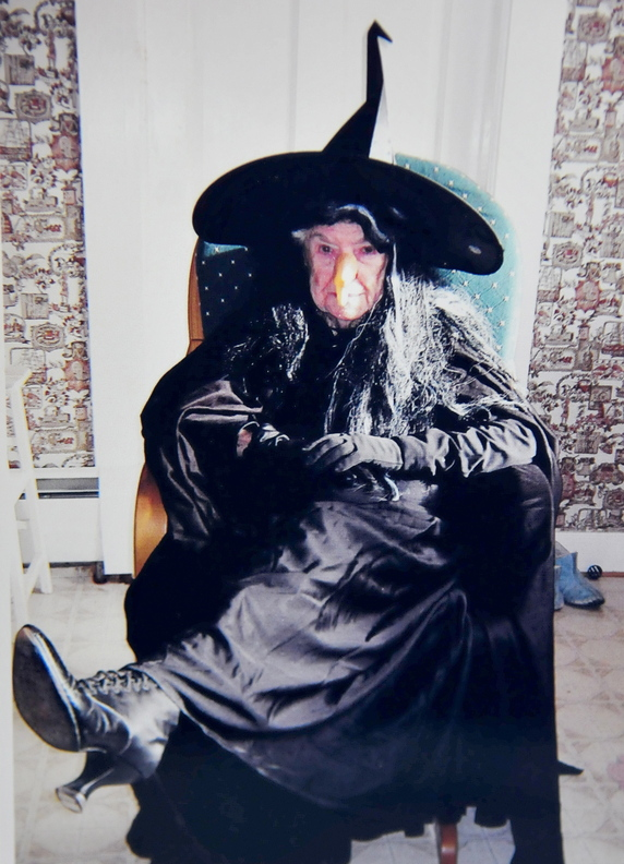 """Contributed photo Tradition: Leola Roberts dressed as """"Eldora"""" in 2010. Roberts. who said she loves Halloween, will celebrate her 100th birthday today."""