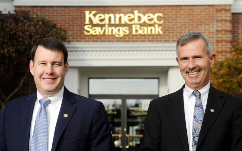 Andrew Silsby, left, will succeed Mark Johnston as President of Kennebec Savings Bank. Johnston announced his plans to retire in June 2015 on Tuesday at the Augusta branch.